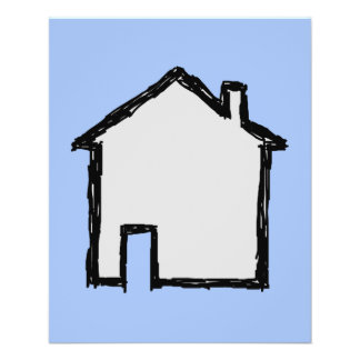 House Sketch. Black and Blue. Flyer