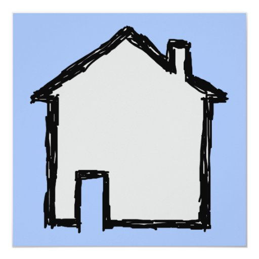 House Sketch. Black and Blue. 5.25x5.25 Square Paper Invitation Card