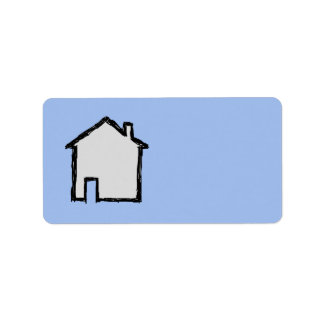 House Sketch. Black and Blue. Label