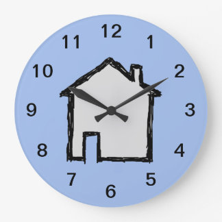House Sketch. Black and Blue. Large Clock