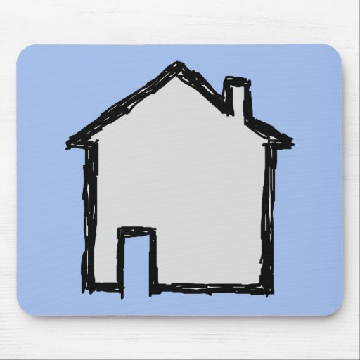 House Sketch. Black and Blue. Mousepad