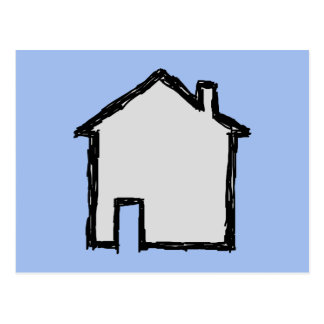 House Sketch. Black and Blue. Postcard