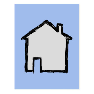 House Sketch. Black and Blue. Postcard