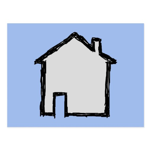 House Sketch. Black and Blue. Postcards