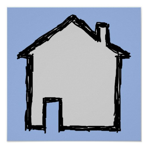 House Sketch. Black and Blue. Print