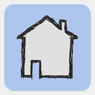 House Sketch. Black and Blue. Square Sticker