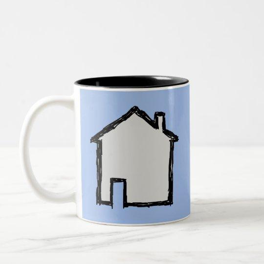 House Sketch. Black and Blue. Two-Tone Coffee Mug