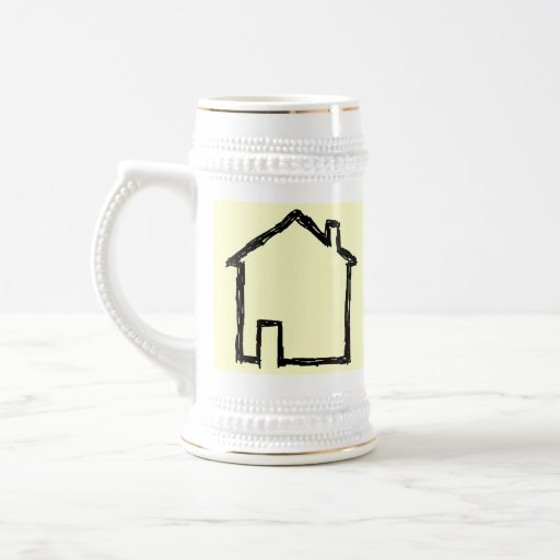 House Sketch. Black and Cream. 18 Oz Beer Stein