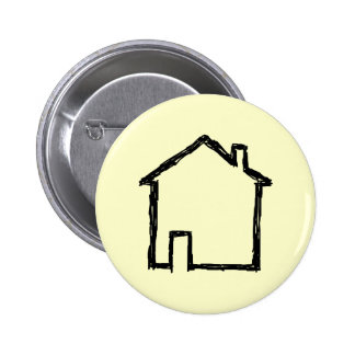 House Sketch. Black and Cream. 2 Inch Round Button