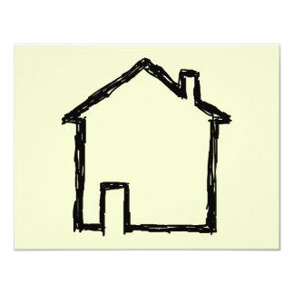 House Sketch. Black and Cream. 4.25x5.5 Paper Invitation Card