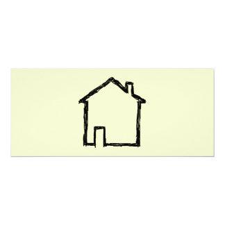 House Sketch. Black and Cream. 4x9.25 Paper Invitation Card