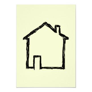 House Sketch. Black and Cream. 5x7 Paper Invitation Card