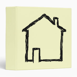 House Sketch Black and Cream 3 Ring Binder