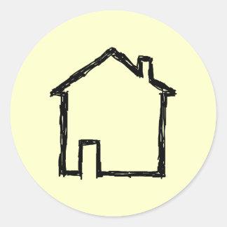 House Sketch. Black and Cream. Classic Round Sticker