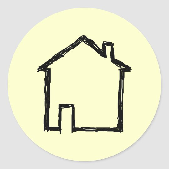 House Sketch. Black and Cream. Classic Round Sticker