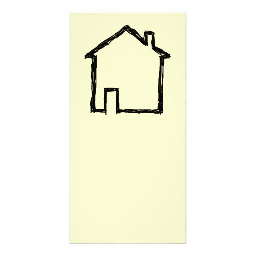 House Sketch. Black and Cream. Custom Photo Card