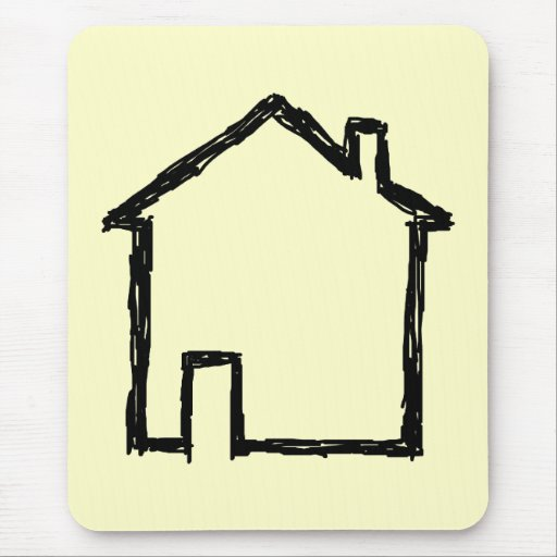 House Sketch. Black and Cream. Mouse Pad