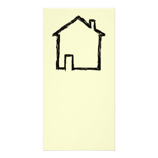 House Sketch. Black and Cream. Custom Photo Card