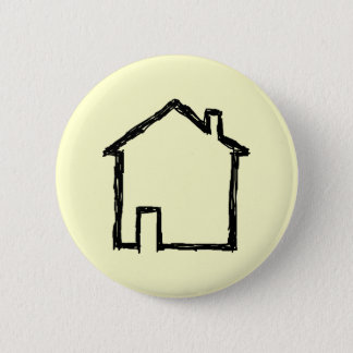 House Sketch. Black and Cream. Pinback Button