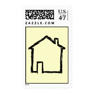 House Sketch. Black and Cream. Postage Stamp