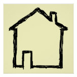 House Sketch. Black and Cream. Poster