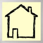 House Sketch. Black and Cream. Print