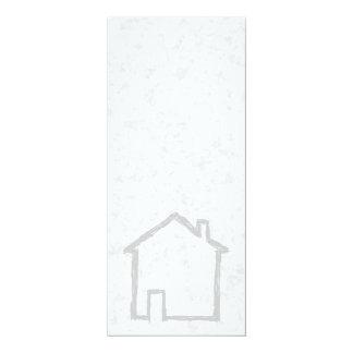 House Sketch. Gray. 4x9.25 Paper Invitation Card