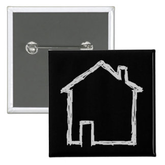 House Sketch. Gray and Black. 2 Inch Square Button