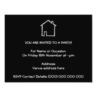 House Sketch. Gray and Black. 4.25x5.5 Paper Invitation Card