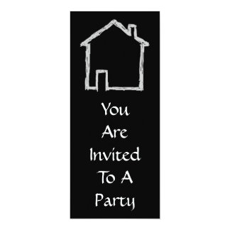 House Sketch. Gray and Black. 4x9.25 Paper Invitation Card