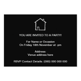 House Sketch. Gray and Black. 5x7 Paper Invitation Card