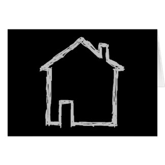 House Sketch. Gray and Black. Card