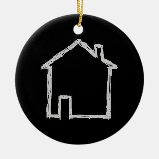 House Sketch. Gray and Black. Ceramic Ornament