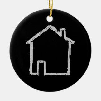 House Sketch. Gray and Black. Christmas Ornament