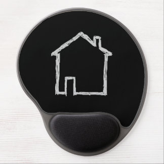 House Sketch Gray and Black Gel Mousepad