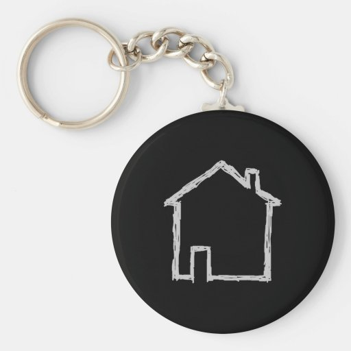 House Sketch. Gray and Black. Keychain