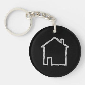 House Sketch. Gray and Black. Acrylic Key Chain