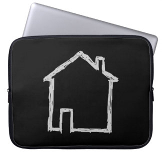 House Sketch. Gray and Black. Laptop Computer Sleeves