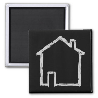 House Sketch. Gray and Black. Fridge Magnets