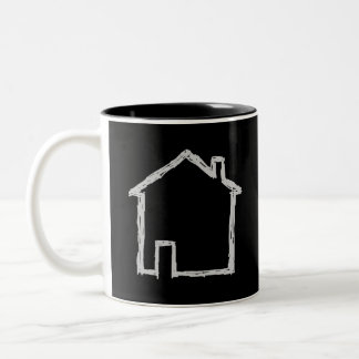 House Sketch. Gray and Black. Mugs