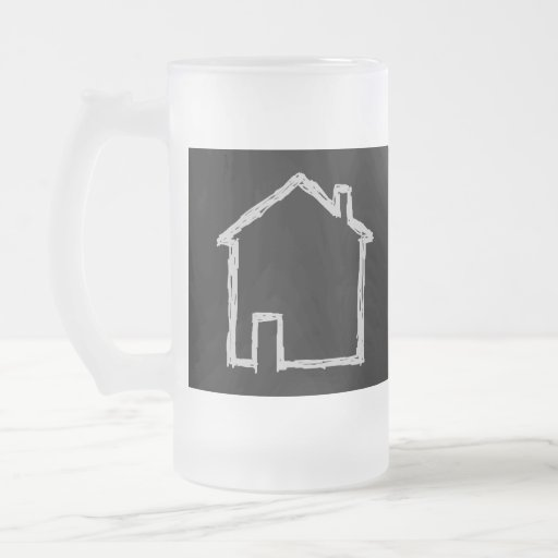 House Sketch. Gray and Black. 16 Oz Frosted Glass Beer Mug