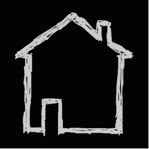 House Sketch. Gray and Black. Photo Sculpture Button