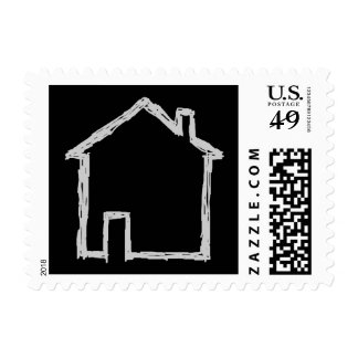 House Sketch. Gray and Black. Postage