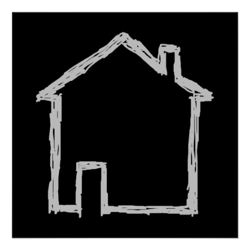 House Sketch. Gray and Black. Poster