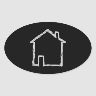 House Sketch. Gray and Black. Oval Stickers