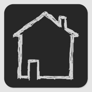 House Sketch. Gray and Black. Square Stickers