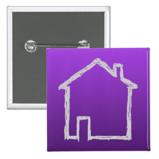 House Sketch. Gray and Purple. 2 Inch Square Button
