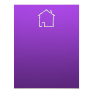 House Sketch. Gray and Purple. 4.25x5.5 Paper Invitation Card