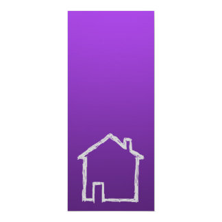 House Sketch. Gray and Purple. 4x9.25 Paper Invitation Card