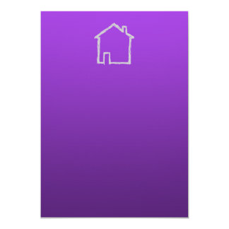 House Sketch. Gray and Purple. 5x7 Paper Invitation Card
